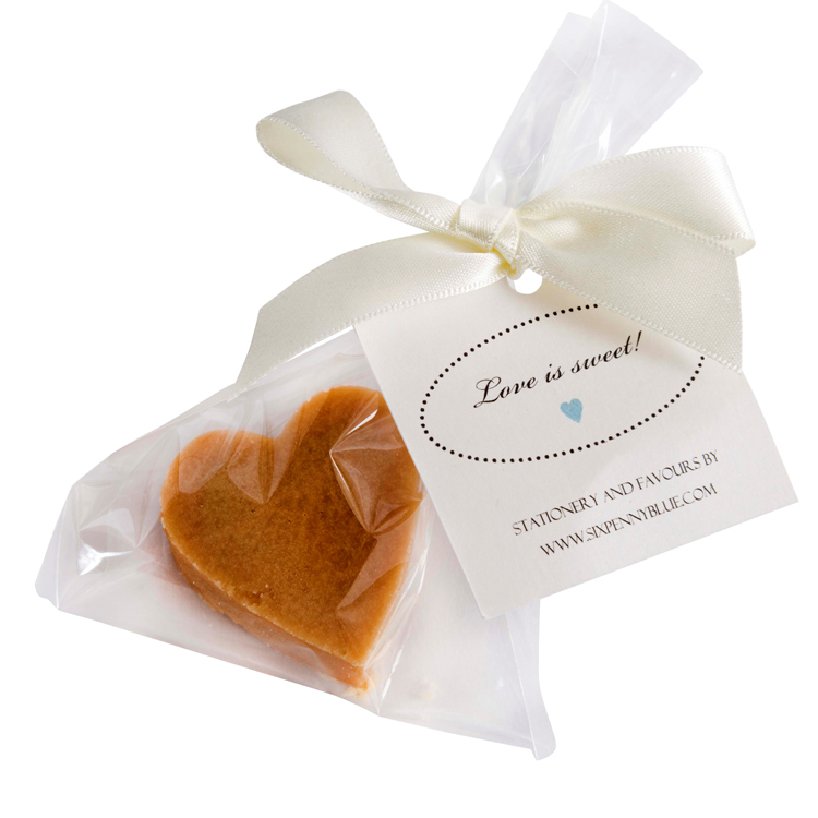 1 large Scottish tablet heart wedding favour gift