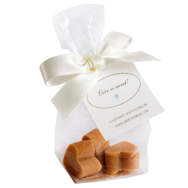 Clear Bag Of 3 Scottish Tablet Heart Wedding Favours