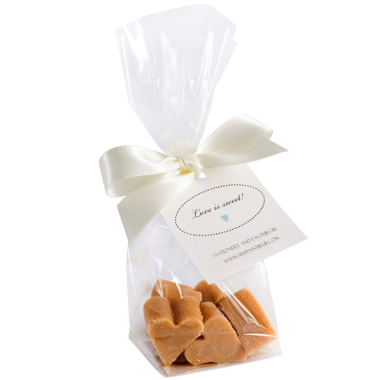 Clear bag of 5 Scottish tablet heart wedding favours