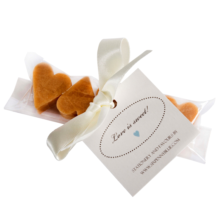 Strip of 5 Scottish tablet heart wedding favours