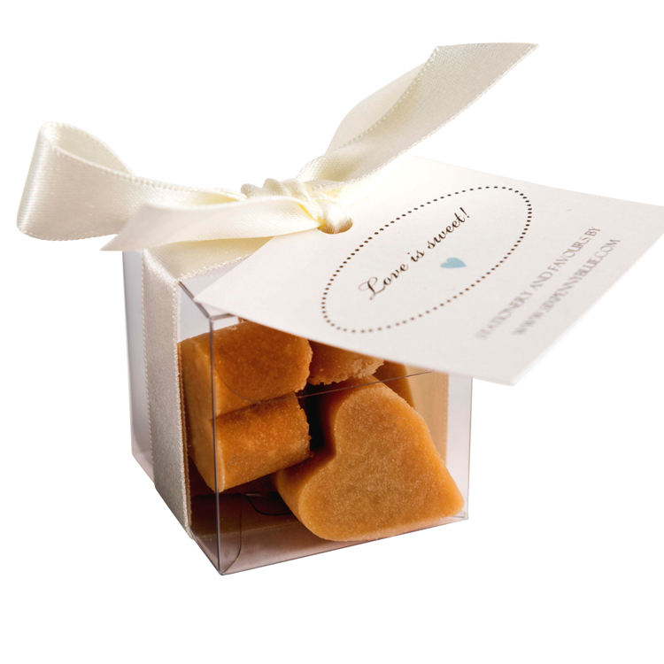 Clear Box Of 5 Scottish Tablet Heart Wedding Favours