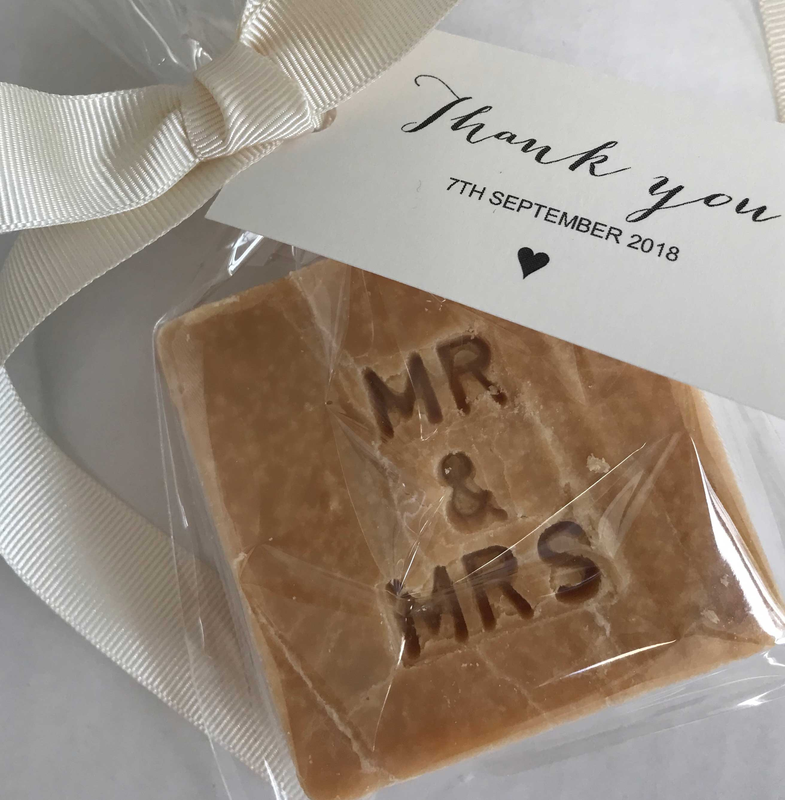 Mr and Mrs Sharing Square tablet wedding favours